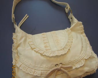 No Boundaries Boho Hobo Bag, Stone/Almond NEW Vintage, Cute, and Lacy -