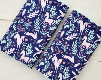 Baby Carrier Strap Covers / Drool Pads - Folk Unicorn Metallic Navy with Aqua Minky