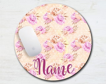 Pink & Peach Floral I Love Sewing Personalized Mouse Pad - Computer Mouse Pad - Feminine Mousepad - Name Mouse Pad - Custom Mouse Pad - Girl