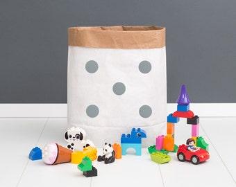 Paper bag M - points silver - powder cloud