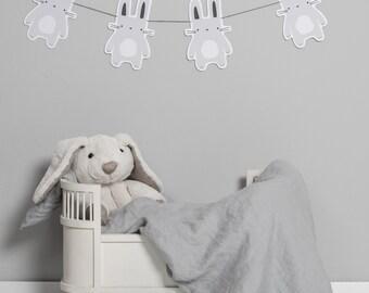 Garland rabbit DIY grey - powder cloud