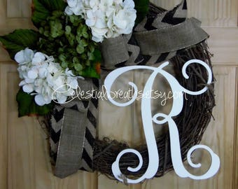 Spring wreath. hydrangea wreath.summer wreath.mothers day.monogrammed wreath.wedding