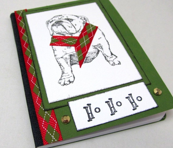 Bulldog Christmas Journal - Bulldog Mini Journal - Christmas Mini Journal - Argyle Ribbon - Ho Ho Ho - Stocking Stuffer - Dog Lover Journal
