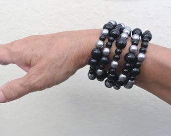 Look at this black and silver colored bracelet