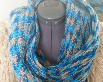 Variegated Blue Seedy Cowl Scarf