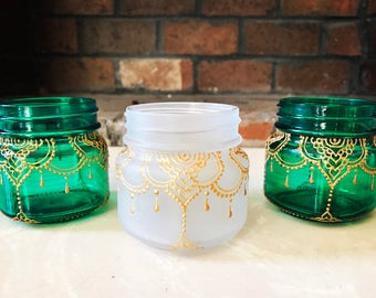 LAYAAN Henna Mason Jar Lantern with Gold Henna Detail: Set of 3
