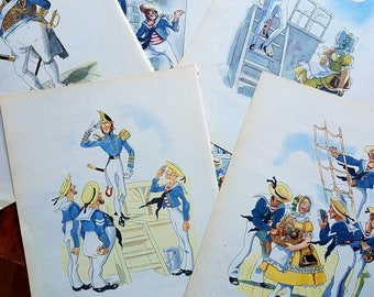 9 HMS Pinafore prints from 1940s book. Gilbert & Sullivan opera. Musicals. Nautical prints. Ships. Boats.  Beach house decor. 8 x 11