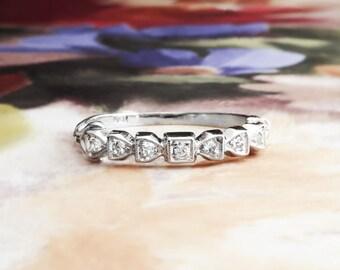 Vintage Diamond Wedding Band 1940's Seven 7 Stone Diamond Wedding Stacking Anniversary Band Ring Platinum