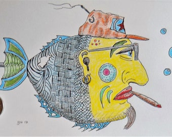Fish Drawing - Ink and colored pencil. Original. Not a print.