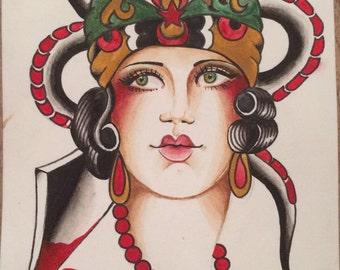 Tattoo flash girl head - snake and dagger - traditional tattoo print