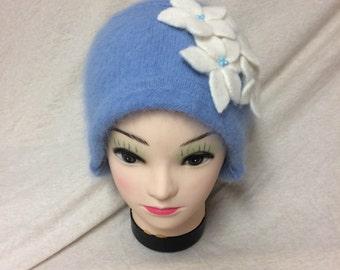 Handmade light blue angora blend hat with white flowers