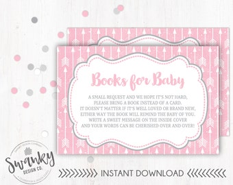 Pink and Gray Bring a Book Card, Pink Arrow Baby Shower, Books for Baby Insert, Pink and Gray Baby Shower, Bring a Book Insert, Arrow Baby