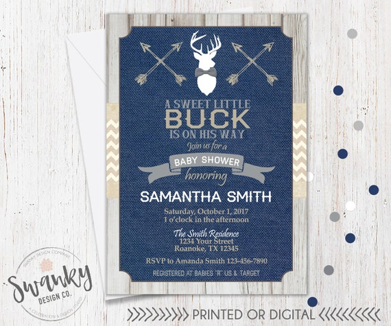rustic deer baby shower invitations navy and burlap baby shower invites gray bowtie