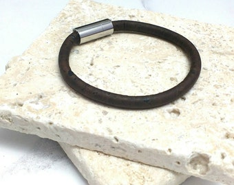 Vegan cork leather bracelet, dark brown with magnetic clasp