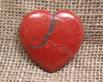 Red Jasper Flat Heart, 45 mm - Item 74296