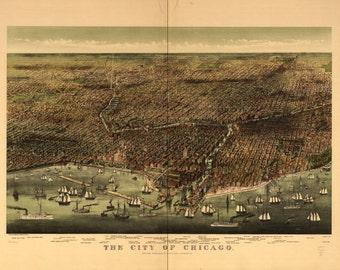 Chicago, Illinois, 1892, 1800's, Map Print