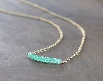 Delicate Emerald Necklace, May Birthstone Necklace in Sterling Silver or Gold Filled, Beaded Emerald Jewelry, Dainty Green Gemstone Necklace