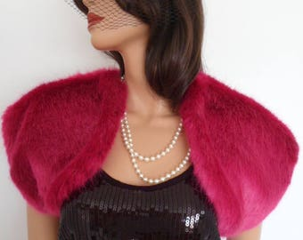 pink fur bolero, shrug, wrap, stole, bright pink fur
