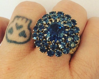Vintage Adjustable Rhinestone Ring in Blue and Gold Tone