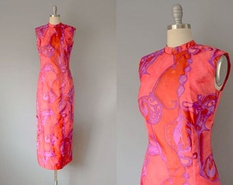 60s Dress // 1960's Fuchsia Batik-Patterned Cheongsam Dress // S