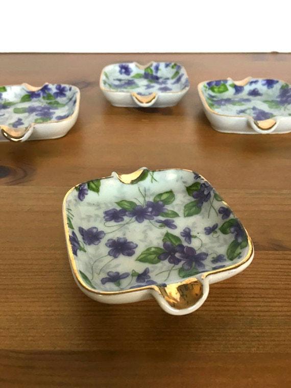 Napco violet ashtray set vintage ceramic painted flower dishes