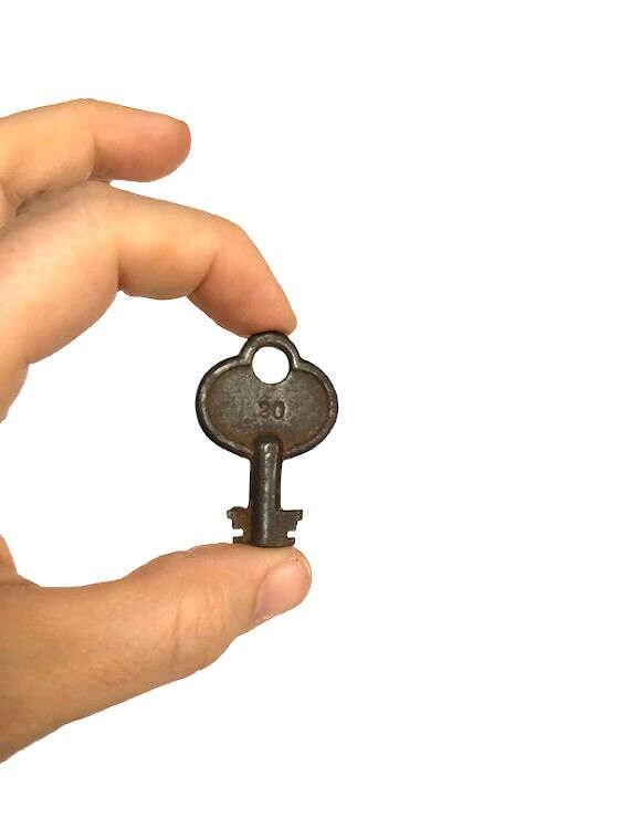Antique barrel key hollow shank 2 sided bit steampunk rusty metal
