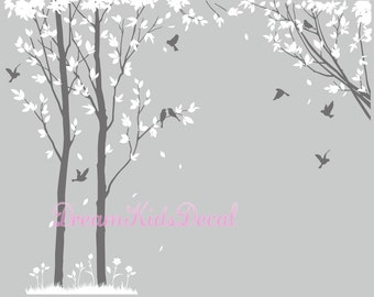 trees decals:wall decals, nature wall decals, vinyl wall decal, nature wall decal stickers, birch tree, nursery wall stickers-DK129