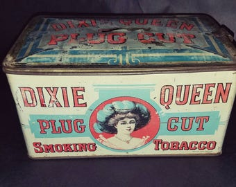 Vintage  Dixie Queen Tobacco Tin Lunch Box Bank