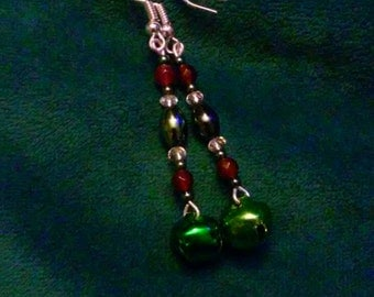 Green Jingle Bell earrings green hematite with garnet and swarovski crystal