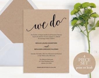 We Do Wedding Invitation, Wedding Invitation Template, Wedding Invite Printable, Rustic, Kraft Invite, Instant Download #MM01-2