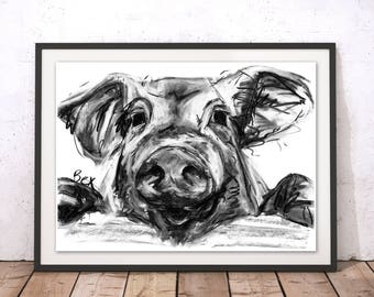 Pig Art Print Pig Wall Art Pig Charcoal Illustration Pig Kitchen Decor Gift For New Home Pig Wall Hanging Animal Print Farm Painting