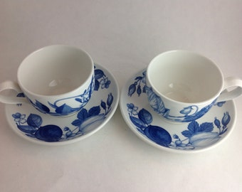 Set of 2 Teacups and Matching Saucers Portmeirion Harvest Blue Angharad Menna Made in England 1995