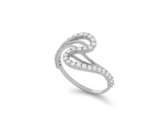 14k solid white gold .69ct diamond swirl ring. item DM862