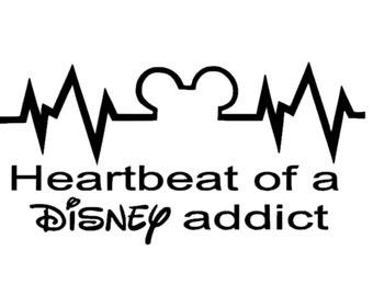 Heartbeat of a Disney Addict Decal | Disney Decal | Disney Heartbeat Sticker | Disney Addict Decal | Heartbeat of a Disney Addict Sticker