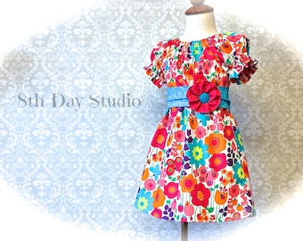 Toddlers Peasant Dress, 3T Only, Bright Floral Print,  Ready to Ship by 8th Day Studio