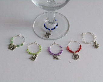 Wine glass charm set, Wine / Champagne glass decorations, wine markers, table decor, party decor, birthday gift, gifts ideas