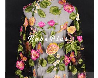 Colorful Schiffli Lace -Multi-color Tulle Embroidered Tulle Lace -Floral Embroidered Tulle Lace -Floral Embroidered Schiffli Lace-L285