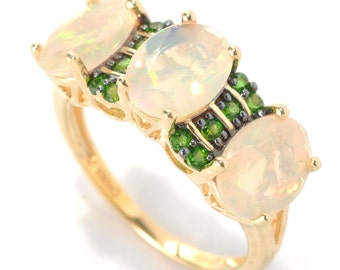 18K Yellow Gold Silver 2.23ctw Ethiopian Opal & Chrome diopside Ring SZ 5-11