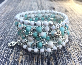 Beachcomber Coils Memory Wire Wrap Bracelet With Sand Dollar Charms