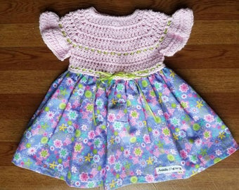 Baby Dress, Baby Floral Dress, Baby Spring Dress, Baby Pink and Purple Dress, Baby Purple Dress, Baby Pink Dress, Newborn Baby Spring Dress