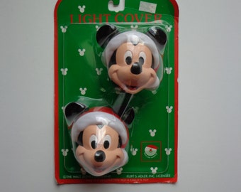 Vintage 90s Walt Disney Company Kurt S Adler Mickey Mouse Christmas Light Covers New In Package Collectible Retro Disneyana Decoration