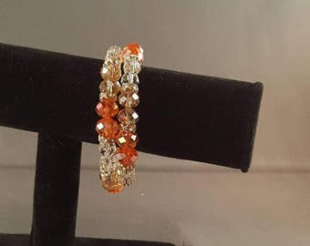 Simply orange memory wire bracelet