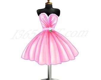 Clip Art Dress Clipart dress clipart etsy 50 off sale pink form digital illustration scrapbooking party invitations fashion cocktail download