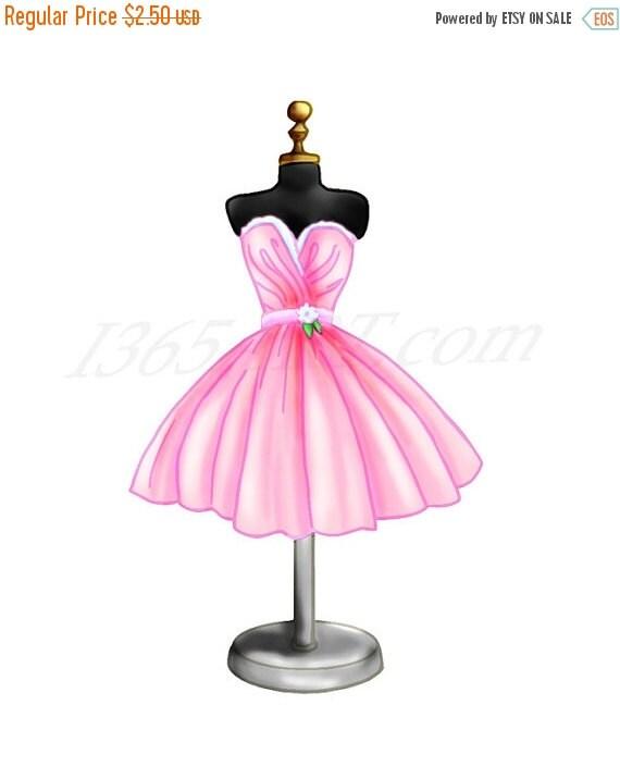 50% OFF Sale Pink Dress Clipart Dress Form Digital by I365Art