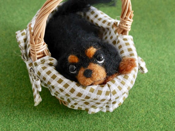 READY TO SHIP/ Needle Felted / Cavalier King Charles Spaniel /Black&Tan03[HiMeg/Etsy]