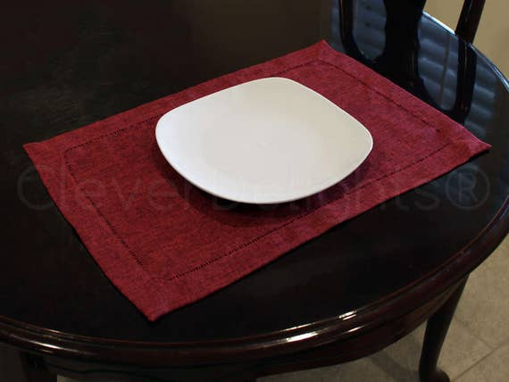 """Easy Care Washable Unique Gray 14/"""" x 20/"""" Hemstitched Placemats 6 Pack"""
