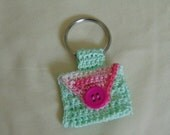 Variegated pink and mint green Crochet Keychain Quarter Keeper