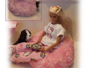 Soft and Furry Purple or Pink Bean Bag Chair for Fashion Dolls. Dollhouse Accessory. (Bean Bag Chair only, Integrity Toys doll not included)