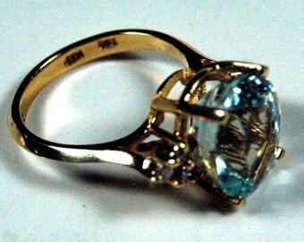 14k Gold 5 Carat Oval Aquamarine Ring With Diamonds