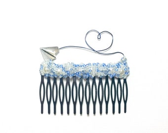 Paper Airplane and Blue Wire Heart Extra Large Comb